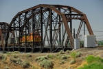 Single Engine Unit Train Crosses the Columbia River into Pasco